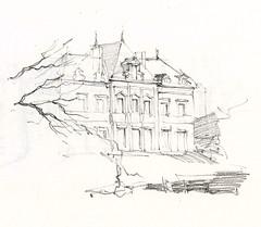 la Roche, Mayet, Sarthe, France (Linda Vanysacker - Van den Mooter) Tags: france castle pencil sketch drawing dessin linda crayon chteau kasteel croquis tekening sarthe schets potlood laroche mayet vanysacker visiblytalented vandenmooter