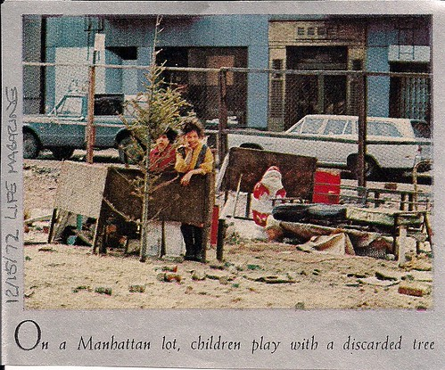 Children Playing with abandoned Christams Tree in Manhattan, NYC (12-15-72 Life Magazine)