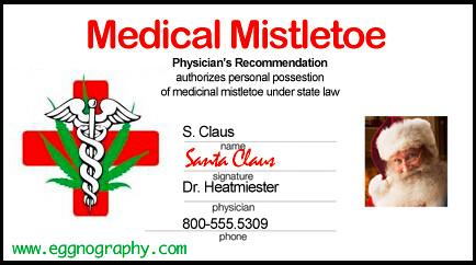 Santa's medicinal mistletoe card