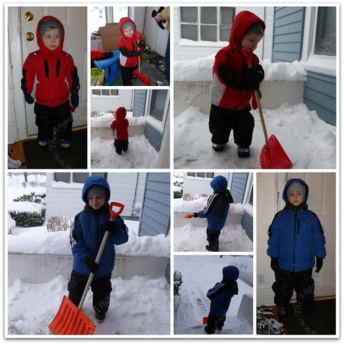 The boys are ready to remove snow