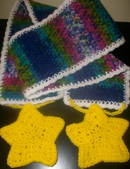 Rainbow Star Scarf (lavstarlight) Tags: winter cloud scarf stars fun rainbow unique magic crochet fantasy geekery accessory lavenderstarlight knightsocoffee
