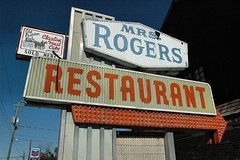 Mrs. Rogers Restaurant (Brian Brown Photography/Vanishing Media) Tags: pictures usa sign ga restaurant photo bulbs americana 1960s roadside 1970s fruitcake 2010 claxton evanscounty pointingarrow ushighway301 vanishingsouthgeorgia copyrightbrianbrown
