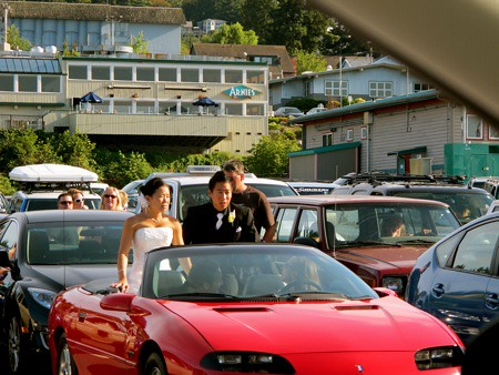 Wedding Couple in Mukilteo Ferry Line