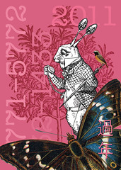 gesund & munter // hale & hearty (minimatika - now also on ipernity) Tags: pink rabbit bunny tenniel honeysuckle usagi hase happynewyear feliceannonuovo prsperoaonuevo prostneujahr onnellistauuttavuotta neujahrskarte  gelukkigenieuwejaar szczsliwegonowegoroku umfelizanonovo gartenrotschwanzphoenicurusphoenicurus groseschillerfalterapaturairis beinbrechnartheciumossifragum elsbeeresorbustorminalis metallhase rotegitterlingclathrusruber schethymallusthymallus rosmarinrosmarinusofficinalis