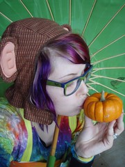 I love Pumpkins!! <3 (Megan is me...) Tags: blue original portrait orange green apple colors fashion rose self hair photography grey glasses spring amazing cool eyes colorful neon pretty ray colours russell mckay bright turquoise unique oneofakind ooak awesome meg violet plum megan style jerome mandarin colored dye ban mayhem punky dyed napalm specialeffects sfx rosered megface meganisme meganyourface