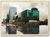 Il pleut sur La Defense (in eva vae) Tags: city blue paris france texture glass rain architecture modern clouds photoshop vintage reflections warm eva nuvole cityscape place skyscrapers kodak framed postcard peach ladefense piazza colori pioggia città digitalcameraclub grattaceli 100commentgroup inevavae