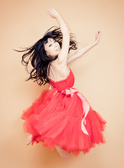 Lauren (tianxiaozhang) Tags: red portrait girl studio jump dress flash explore hm softlight 17mm ef1740l eos450d