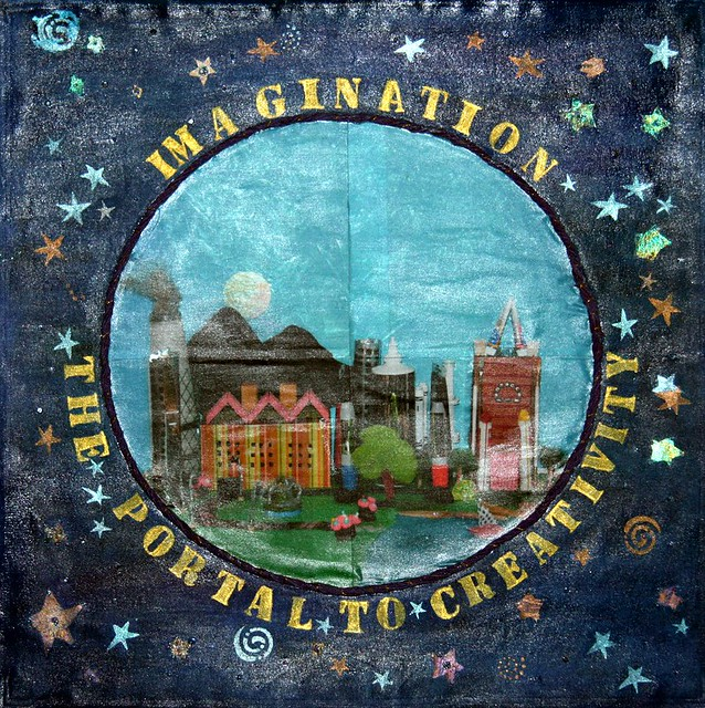 "★By the Members of the Westchester Art Therapy Association (WATA) created this panel. From Mamaroneck, New York ★Title - ""Imagination The Portal to Creativity"""