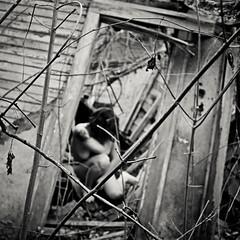Implosion (sadandbeautiful (Sarah)) Tags: portrait bw woman selfportrait abandoned me overgrown female self detroit suburbs shack outwithdeanaakalolaluvsme