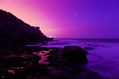 Extinction (Star Trails Over Jurassic Coast), Dorset (flatworldsedge) Tags: ocean longexposure sea mist night star coast rocks surf waves purple cove tripod platform magenta trails wb cliffs dorset geology isle jurassic purbeck startrails winspit explored wavecut