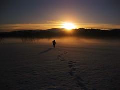 Heading to Loch Ard (KerryElaine) Tags: trees winter sunset mist snow ice scotland loch trossachs lochard