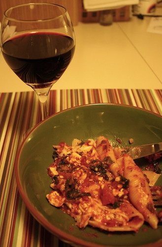 wine & baked stuffed shells from Clean Food