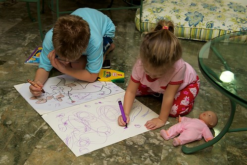 Coloring at abuela's house