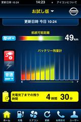 日産リーフのリモート操作を行う「iPhoneアプリケーション」画面