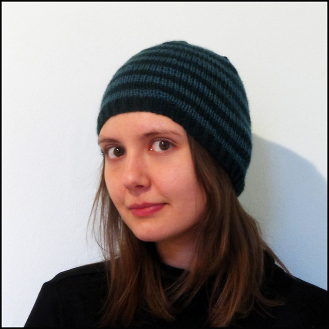 billie stripy beanie in petrol and dark green