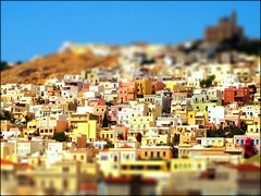 Ermoupolis Village: Syros, Greece (FlipMode79) Tags: city travel color building church beautiful architecture port greek photography town europe afternoon waterfront capital sunny greece hillside cyclades legoland syros tiltshift hss cycladesislands churchofresurrection ermoupolis siros sliderssunday churchofanastasis dilihill flipmode79
