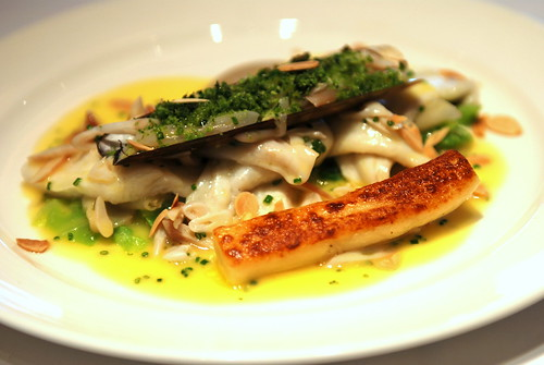 Plaice Fillet, with Herb Crusted Razor Clam, Jerusalem, Artichokes, Gnocchi and Almond
