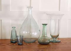 green glass bottle & vase vignette (summer decorating) (kizilod2) Tags: summer white green glass bottle aqua decorating vase paneling