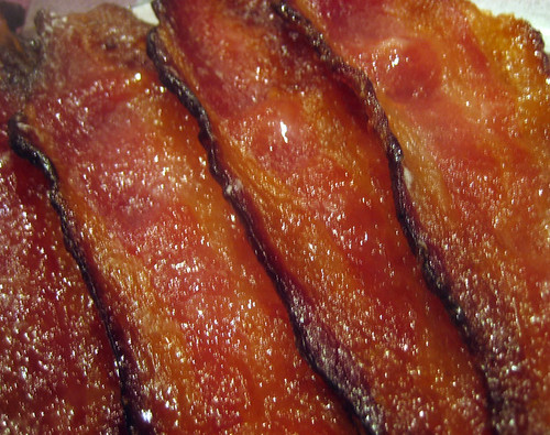 sliced candied bacon
