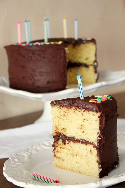 chocolate frosted yellow cake