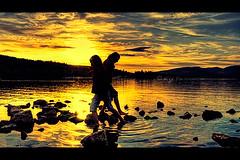 Nocturnal Light (KY-Photography) Tags: ca uk blue sunset sky orange sun mountain lake ontario canada reflection nature water silhouette yellow landscape scotland nikon scenery rocks glasgow ky guelph gb ripples nikkor benlomond kh