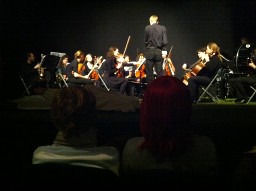 Big orchestra for The Way Through the Woods. It's a dark version of Snow White apparently. Opening night tonight. http://www.adctheatre.com