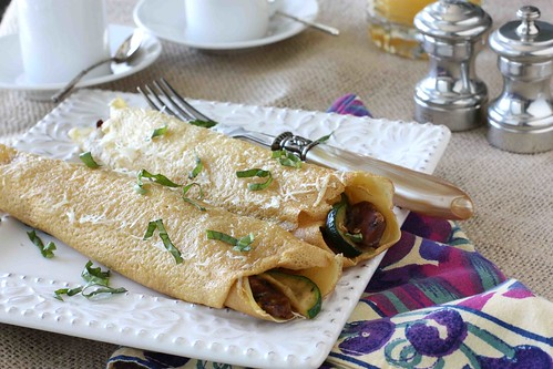 Baked Crepes with Sun-Dried Tomato Sausage, Zucchini & Mascarpone Cheese Filling LS