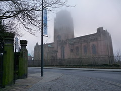 Gambier Terrace gates and view of the fabulous Anglican Cathedtal. (Radarsmum67) Tags: winter building fog liverpool buildings giant hope cathedral terrace religion january foggy posts cobbles stereotype damp mycity gambier scouser haunts toxteth gambierterrace