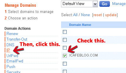 On Moniker, select domain then click on IP settings - blankpixels.com