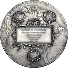 Silver Carnegie Hero Medal reverse