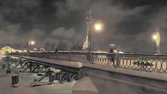 Like a postcard from XIX centuries (Michael Sokolov) Tags: bridge winter snow architecture night vintage cityscape award lantern saintpetersburg inv instantfave shockofthenew trolled bestcapturesaoi elitegalleryaoi sp800uz 1w78 michsokoyahoocom