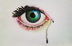 La tristesse durera toujours (Monica Loya) Tags: eye watercolor painting tristesse