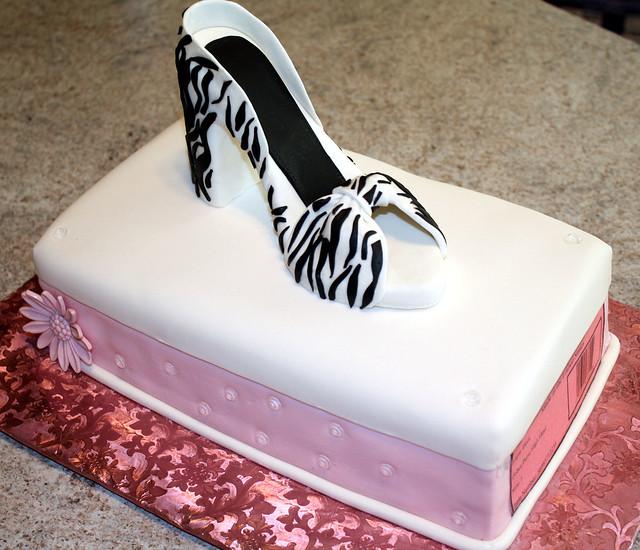 Hatbox Cake W/ Gumpaste Zebra Print High Heel