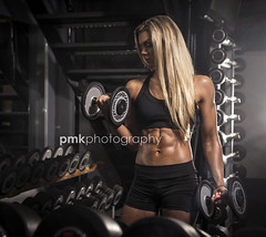 Ripped! (P M K Photography) Tags: bikini athlete model ripped abs blonde weights gym nikon tanned oiled skin