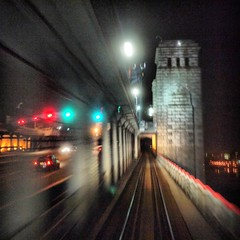 PATCO crossing Ben Franklin Bridge at night (Bill Abrams) Tags: bridge night train square lumix 11 panasonic patco fourthirds g2k dmcg2k benfranklinbridgebenjaminfranklinbridge