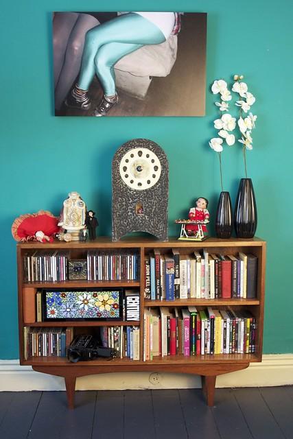 front room bookshelf