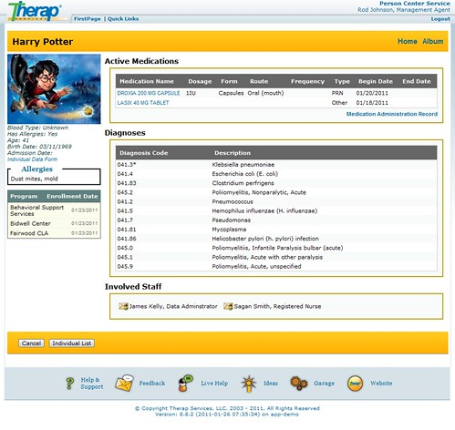 Screenshot of Individual Home Page showing Active Medications, Diagnoses & Involved Staff section