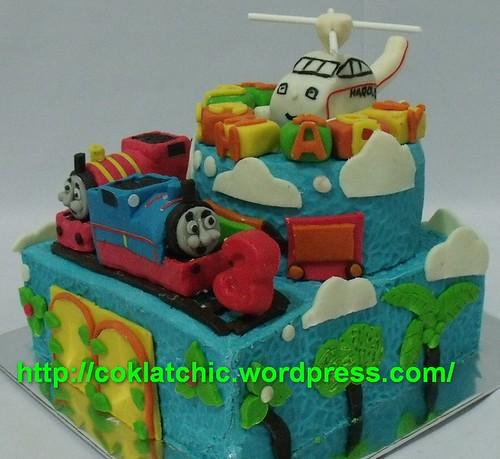 cake ulang tahun dengan tema thomas the tank engine dan teman teman