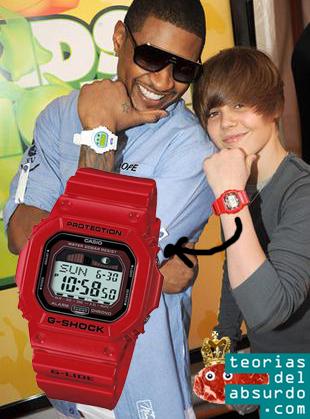 caucasico portando un reloj casio