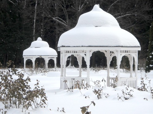 snow-covered gazebos