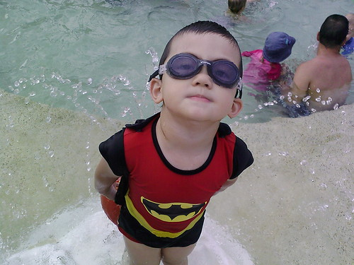 Batman swims