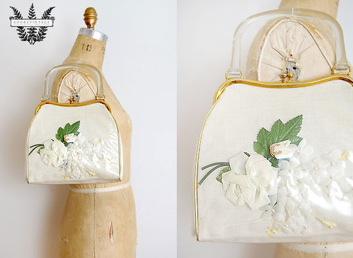 Vintage 1950s pressed flowers bag
