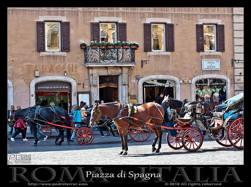 Roma - Piazza Spagna - Carruajes para turistas