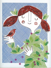 charmer ('Lil Sonny Sky) Tags: bird leaves illustration print screenprint redhead pigtails charmer