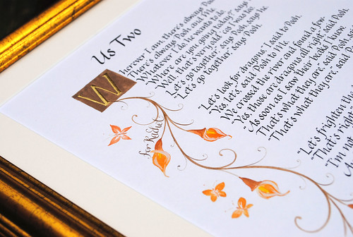 wedding anniversary calligraphy gift Us Two poem A A Milne