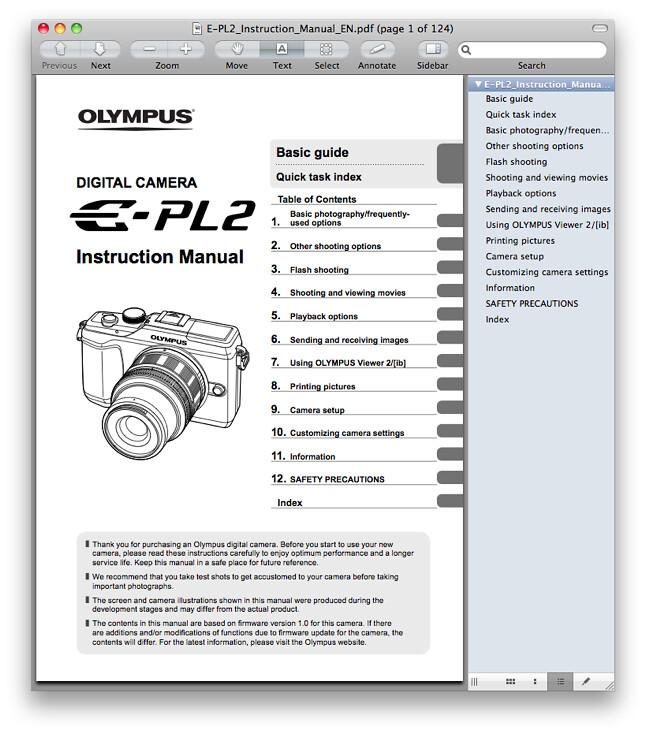 Olympus E-PL2 Manual