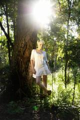 Kunai 2 (milkshake madamoiselle) Tags: trees green nature beautiful beauty forest outdoors bush natural australian australia blond beams beautifulgirl sunflare whitedress