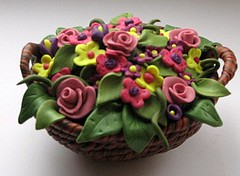 Basket with Flowers by Merrily Me