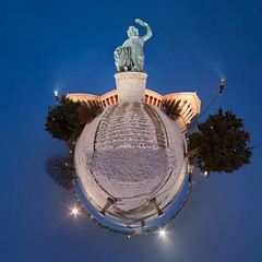 Bavaria Statue - Little Planet Munich Panorama 360 (daitoZen) Tags: city travel blue schnee winter sky panorama snow monument statue night germany advertising munich mnchen bayern deutschland bavaria photography idea abend europa europe view pentax nacht ad perspective wideangle 360 landmark panoramic oktoberfest fisheye journey planet bronzestatue munchen unusual kalt westend 360x180 muenchen wiesn 2010 bavarian theresienhhe blaue stereographic blauestunde vacaction theresienwiese  ptgui ruhmeshalle stunde kugelpanorama littleplanet da1017 schwanthaler theresienhoehe bavariastatue panomaxx stadtgetty2010 gettyimagesgermanyq1 giap03111 michaelkrutzenbichler littleplanetmunich