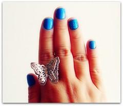 Photography Journal 44/365 (Teka e Fabi) Tags: blue azul project photography journal ring nails borboleta 365 nailpolish unhas diario anel fotografico esmalte tekaefabi